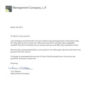 BPG Management Company LP testimonial - SmartDog Commercial Cleaning
