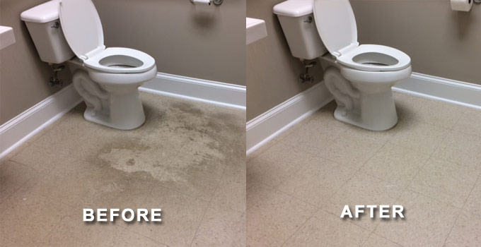 waxing bathroom floor before after